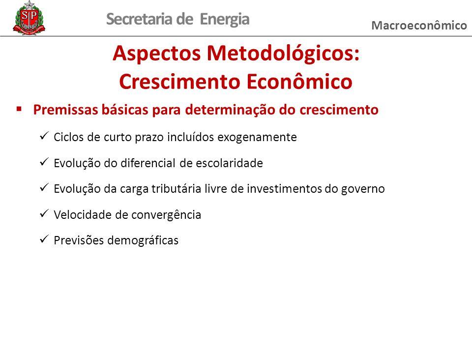 Secretaria de Energia Premissas básicas para determinação do crescimento Ciclos de curto prazo incluídos exogenamente Evolução do diferencial de escol