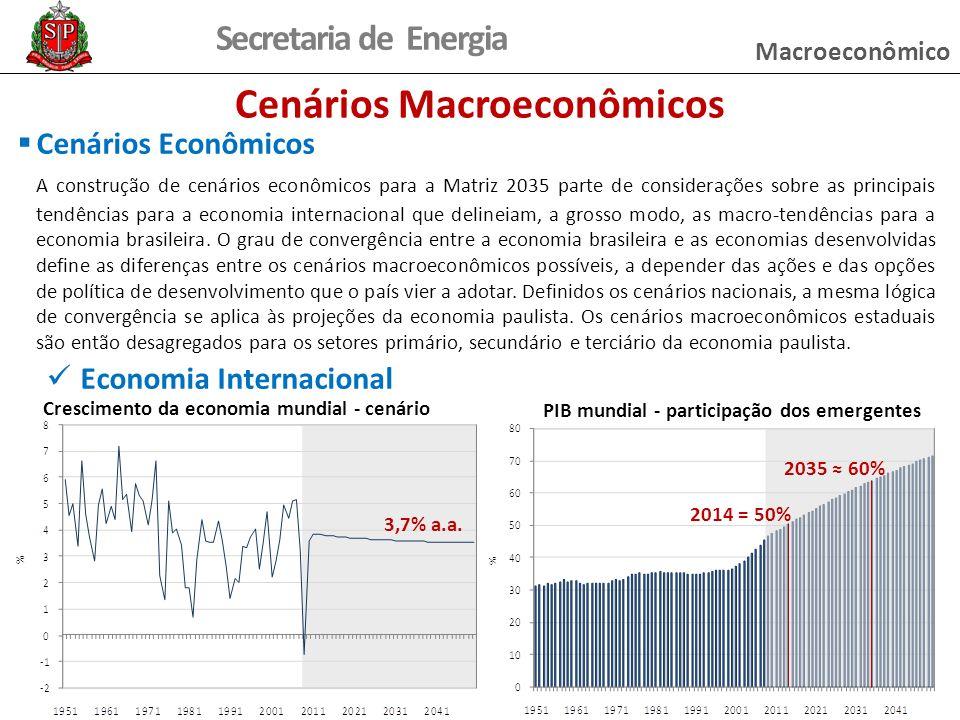 Secretaria de Energia Cenários Macroeconômicos Cenários Econômicos A construção de cenários econômicos para a Matriz 2035 parte de considerações sobre as principais tendências para a economia internacional que delineiam, a grosso modo, as macro-tendências para a economia brasileira.