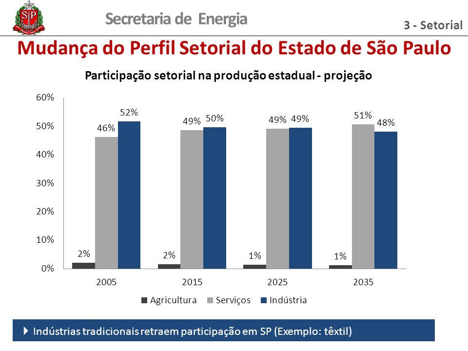 Secretaria de Energia Participação setorial na produção estadual - projeção Indústrias tradicionais retraem participação em SP (Exemplo: têxtil) Mudança do Perfil Setorial do Estado de São Paulo 3 - Setorial