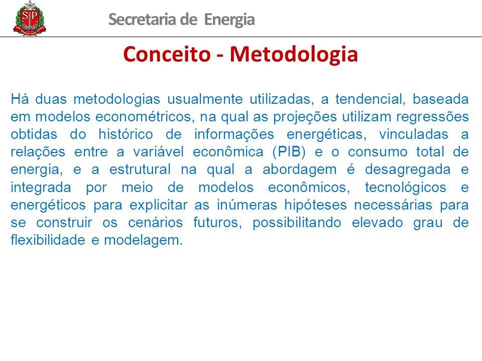 Secretaria de Energia Conceito - Metodologia Há duas metodologias usualmente utilizadas, a tendencial, baseada em modelos econométricos, na qual as projeções utilizam regressões obtidas do histórico de informações energéticas, vinculadas a relações entre a variável econômica (PIB) e o consumo total de energia, e a estrutural na qual a abordagem é desagregada e integrada por meio de modelos econômicos, tecnológicos e energéticos para explicitar as inúmeras hipóteses necessárias para se construir os cenários futuros, possibilitando elevado grau de flexibilidade e modelagem.