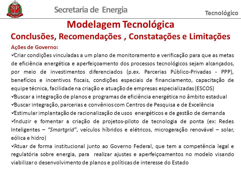 Secretaria de Energia Ações de Governo: Criar condições vinculadas a um plano de monitoramento e verificação para que as metas de eficiência energétic