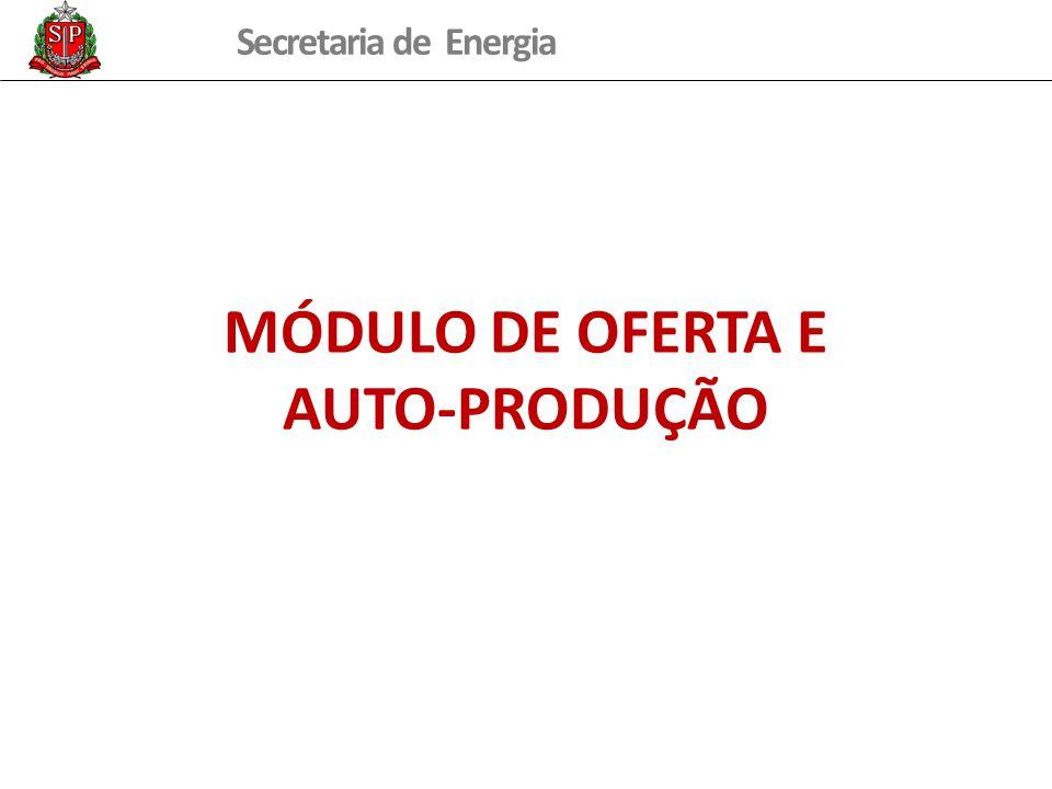 Secretaria de Energia MÓDULO DE OFERTA E AUTO-PRODUÇÃO