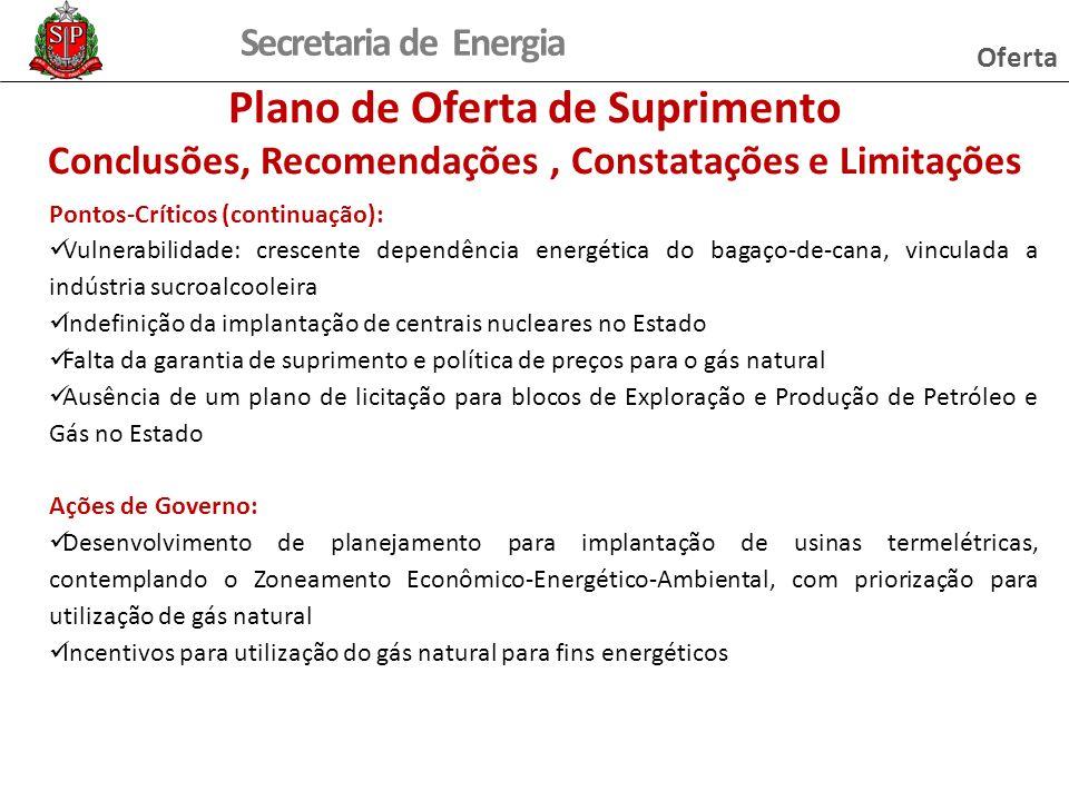 Secretaria de Energia Pontos-Críticos (continuação): Vulnerabilidade: crescente dependência energética do bagaço-de-cana, vinculada a indústria sucroa
