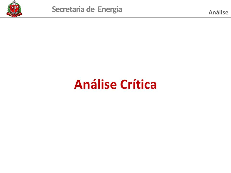 Secretaria de Energia Análise Crítica Análise