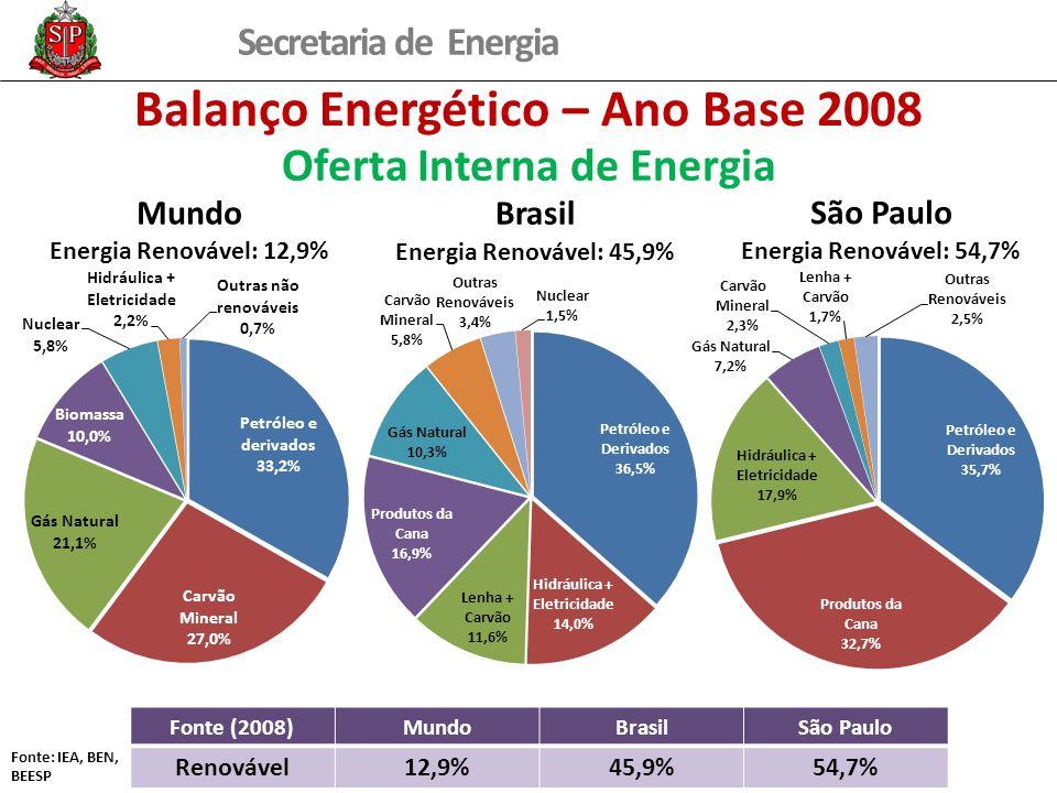 Secretaria de Energia Balanço Energético – Ano Base 2008 Oferta Interna de Energia Fonte (2008)MundoBrasilSão Paulo Renovável12,9%45,9%54,7% Fonte: IEA, BEN, BEESP