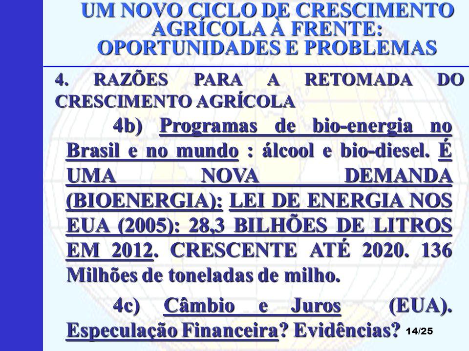 UM NOVO CICLO DE CRESCIMENTO AGRÍCOLA À FRENTE: OPORTUNIDADES E PROBLEMAS 14/25 4b) Programas de bio-energia no Brasil e no mundo : álcool e bio-diese