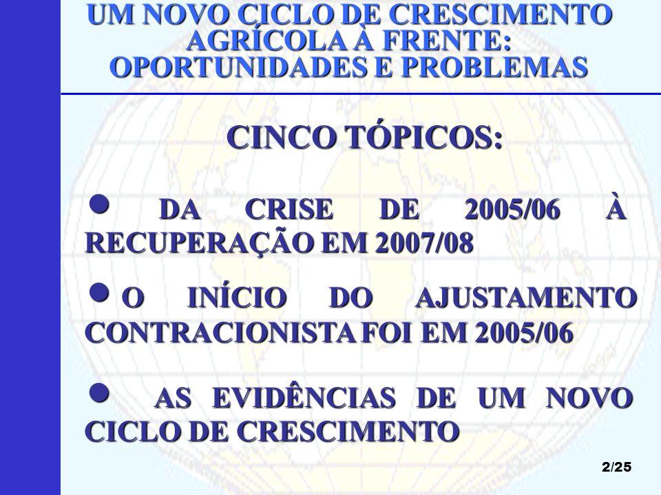PREÇOS DE GRÃOS NAS BOLSAS INTERNACIONAIS (US$/t) 13/25 Fonte: CONAB.
