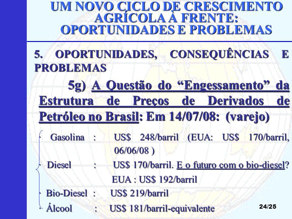 UM NOVO CICLO DE CRESCIMENTO AGRÍCOLA À FRENTE: OPORTUNIDADES E PROBLEMAS 24/25 5g) A Questão do Engessamento da Estrutura de Preços de Derivados de P