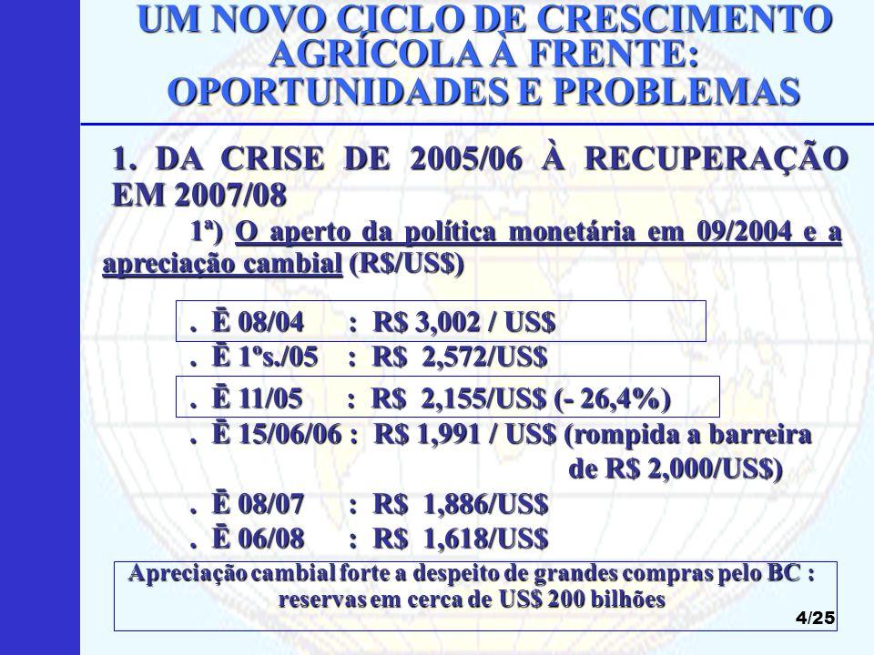 UM NOVO CICLO DE CRESCIMENTO AGRÍCOLA À FRENTE: OPORTUNIDADES E PROBLEMAS 15/25 BRASIL : cana-de-açúcar (álcool) e soja BRASIL : cana-de-açúcar (álcool) e soja (bio-diesel) (bio-diesel) EUA : milho (álcool) : 103 milhões tons em 2008 EUA : milho (álcool) : 103 milhões tons em 2008 UE : beterraba e trigo (álcool); canola e girassol UE : beterraba e trigo (álcool); canola e girassol (bio-diesel) (bio-diesel) JAPÃO : arroz (álcool) JAPÃO : arroz (álcool) OUTROS : importação de álcool e mandioca OUTROS : importação de álcool e mandioca (álcool, África) (álcool, África) 4.