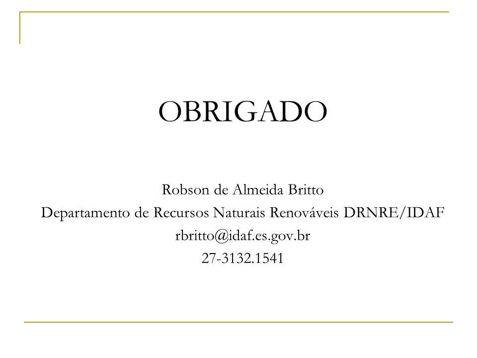 OBRIGADO Robson de Almeida Britto Departamento de Recursos Naturais Renováveis DRNRE/IDAF rbritto@idaf.es.gov.br 27-3132.1541