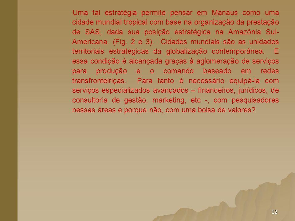 12 Uma tal estratégia permite pensar em Manaus como uma cidade mundial tropical com base na organização da prestação de SAS, dada sua posição estratég