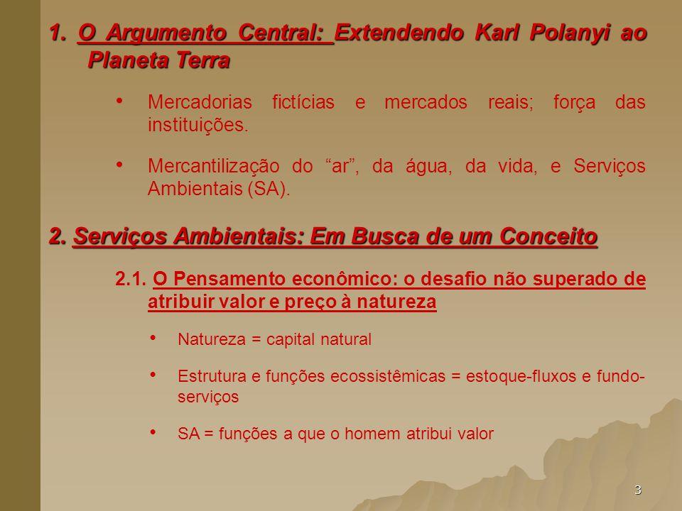 3 1. O Argumento Central: Extendendo Karl Polanyi ao Planeta Terra Mercadorias fictícias e mercados reais; força das instituições. Mercantilização do