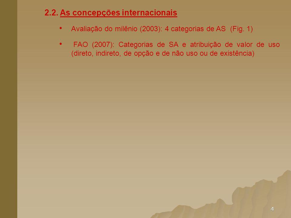 4 2.2. As concepções internacionais Avaliação do milênio (2003): 4 categorias de AS (Fig. 1) FAO (2007): Categorias de SA e atribuição de valor de uso