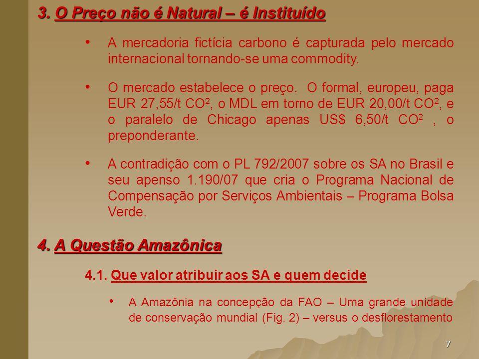 7 3. O Preço não é Natural – é Instituído A mercadoria fictícia carbono é capturada pelo mercado internacional tornando-se uma commodity. O mercado es