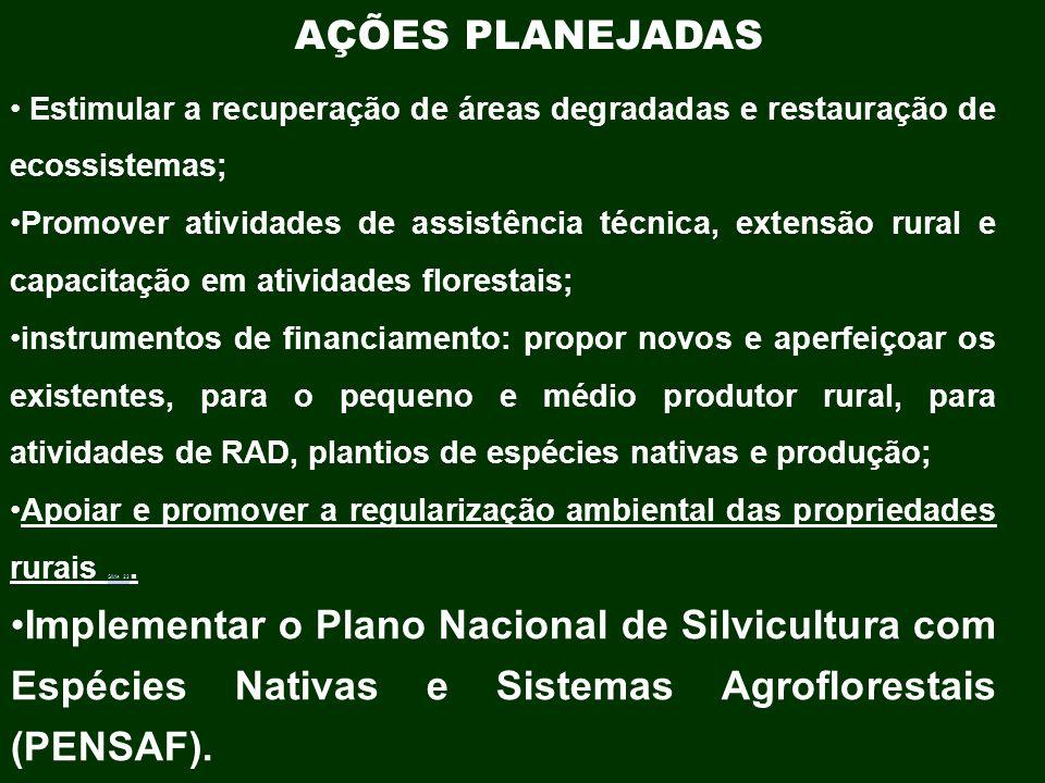AÇÕES PLANEJADAS Estimular a recuperação de áreas degradadas e restauração de ecossistemas; Promover atividades de assistência técnica, extensão rural