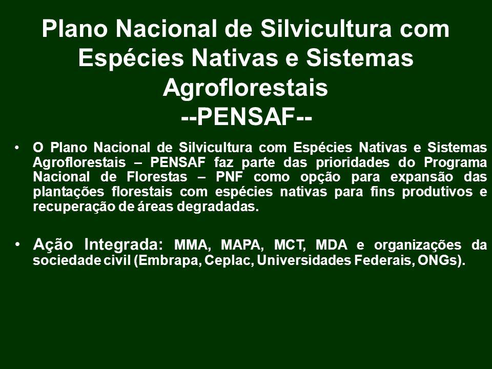 Plano Nacional de Silvicultura com Espécies Nativas e Sistemas Agroflorestais --PENSAF-- O Plano Nacional de Silvicultura com Espécies Nativas e Siste