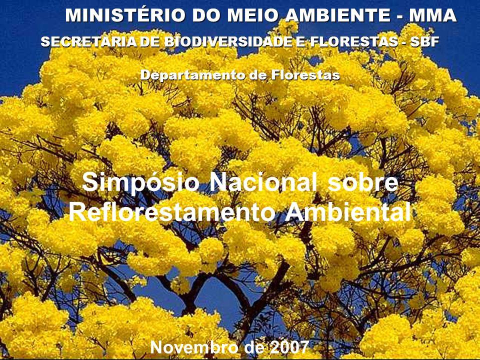 SECRETARIA DE BIODIVERSIDADE E FLORESTAS - SBF MINISTÉRIO DO MEIO AMBIENTE - MMA Novembro de 2007 Departamento de Florestas Simpósio Nacional sobre Re