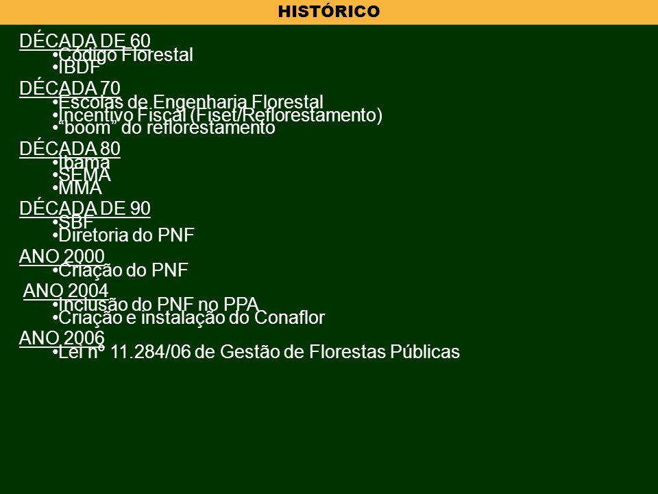 HISTÓRICO DÉCADA DE 60 Código Florestal IBDF DÉCADA 70 Escolas de Engenharia Florestal Incentivo Fiscal (Fiset/Reflorestamento) boom do reflorestament