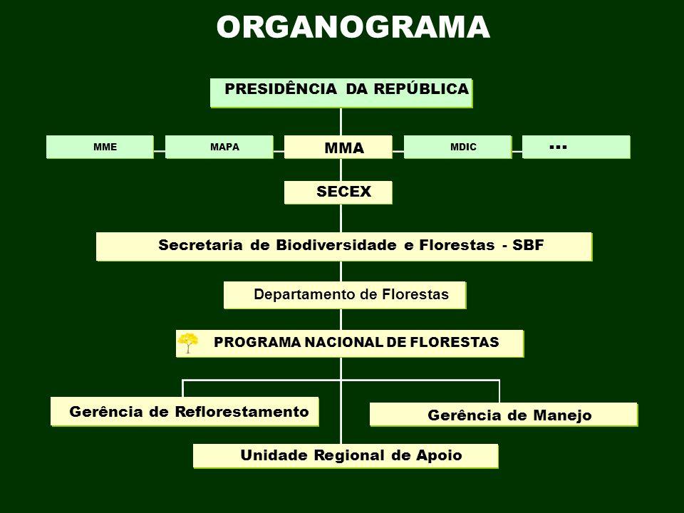 ORGANOGRAMA PROGRAMA NACIONAL DE FLORESTAS Gerência de Manejo Gerência de Reflorestamento Unidade Regional de Apoio Departamento de Florestas Secretar