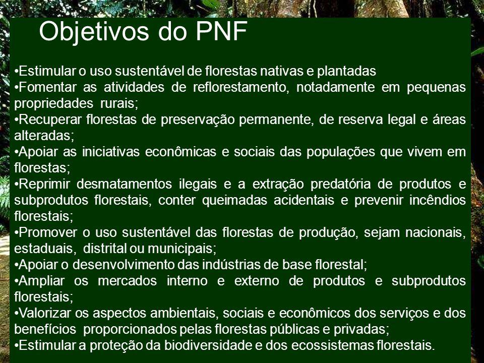 Objetivos do PNF Estimular o uso sustentável de florestas nativas e plantadas Fomentar as atividades de reflorestamento, notadamente em pequenas propr