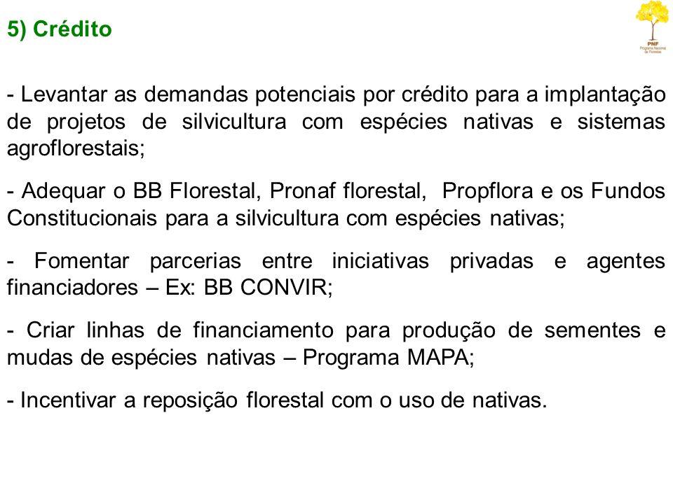 5) Crédito - Levantar as demandas potenciais por crédito para a implantação de projetos de silvicultura com espécies nativas e sistemas agroflorestais
