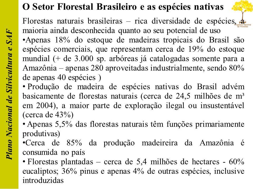 O Setor Florestal Brasileiro e as espécies nativas Plano Nacional de Silvicultura e SAF Florestas naturais brasileiras – rica diversidade de espécies,