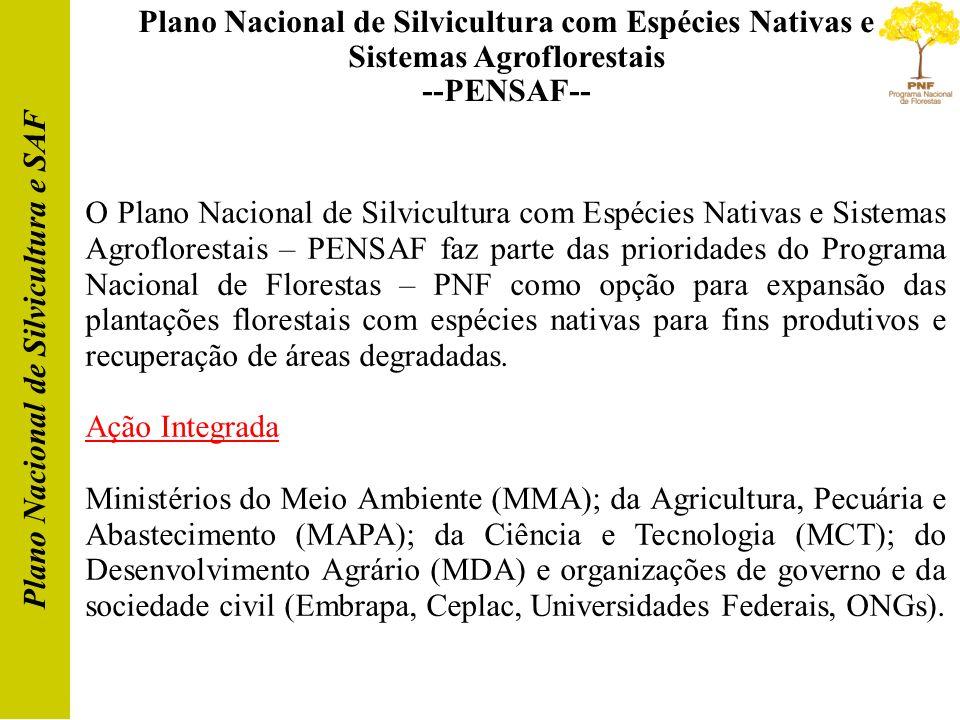 Plano Nacional de Silvicultura com Espécies Nativas e Sistemas Agroflorestais --PENSAF-- Plano Nacional de Silvicultura e SAF O Plano Nacional de Silv