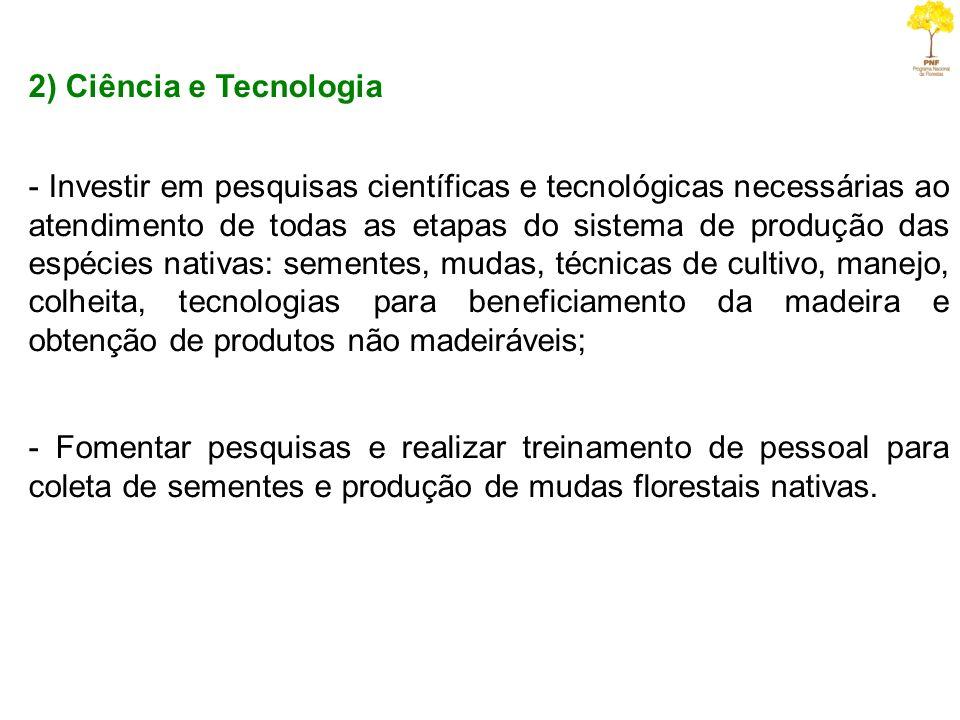 2) Ciência e Tecnologia - Investir em pesquisas científicas e tecnológicas necessárias ao atendimento de todas as etapas do sistema de produção das es