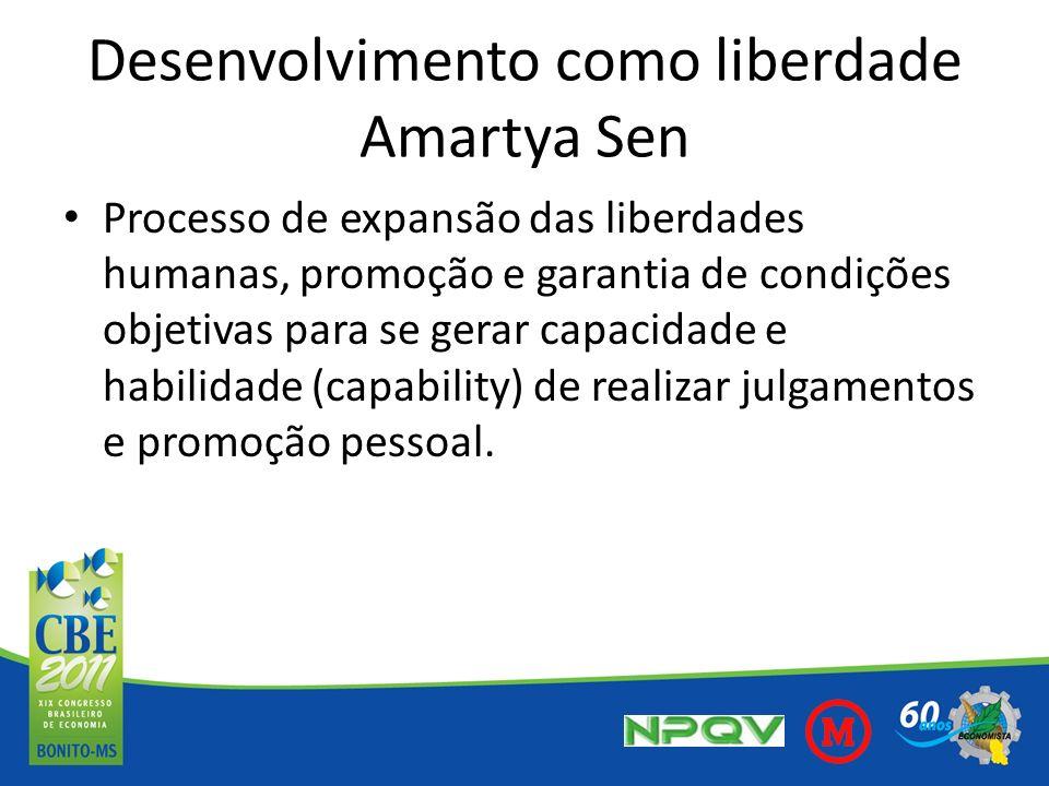 Desenvolvimento como liberdade Amartya Sen Processo de expansão das liberdades humanas, promoção e garantia de condições objetivas para se gerar capac