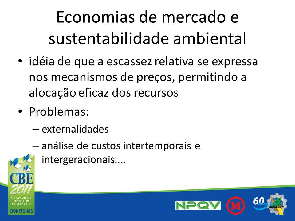 Economias de mercado e sustentabilidade ambiental idéia de que a escassez relativa se expressa nos mecanismos de preços, permitindo a alocação eficaz