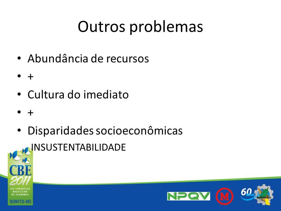 Outros problemas Abundância de recursos + Cultura do imediato + Disparidades socioeconômicas INSUSTENTABILIDADE