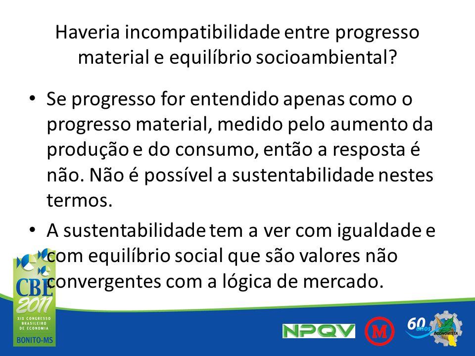 Haveria incompatibilidade entre progresso material e equilíbrio socioambiental? Se progresso for entendido apenas como o progresso material, medido pe