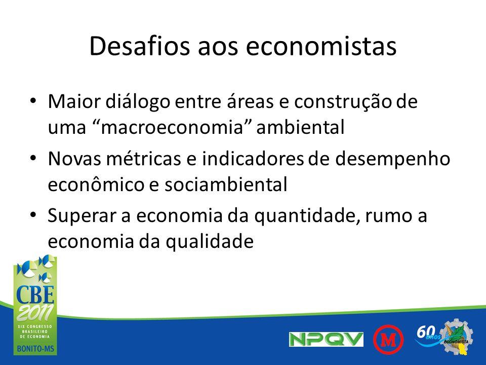 Desafios aos economistas Maior diálogo entre áreas e construção de uma macroeconomia ambiental Novas métricas e indicadores de desempenho econômico e