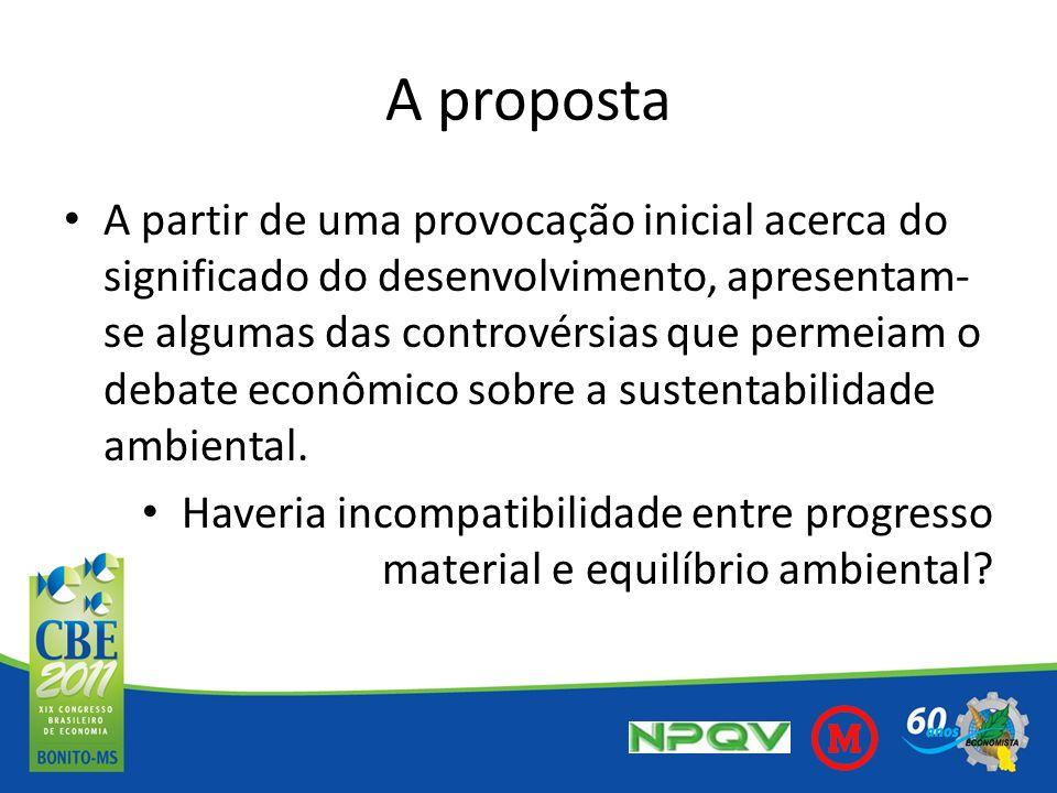 A proposta A partir de uma provocação inicial acerca do significado do desenvolvimento, apresentam- se algumas das controvérsias que permeiam o debate