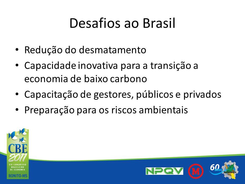 Desafios ao Brasil Redução do desmatamento Capacidade inovativa para a transição a economia de baixo carbono Capacitação de gestores, públicos e priva