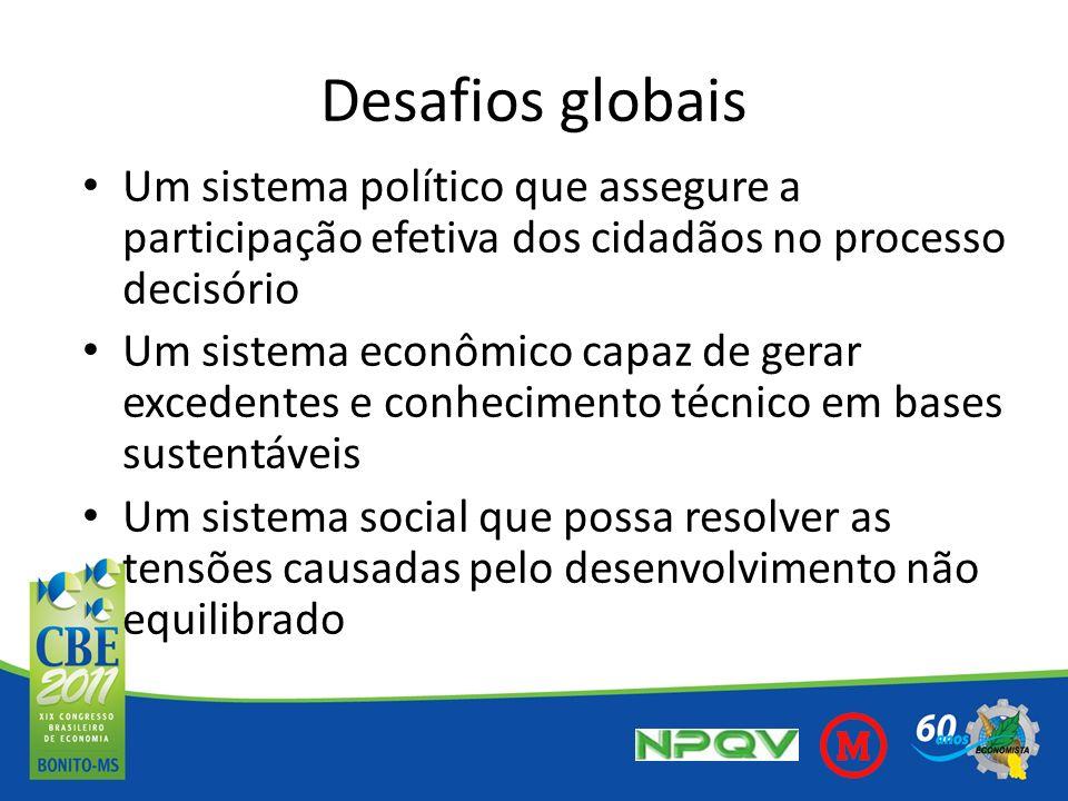 Desafios globais Um sistema político que assegure a participação efetiva dos cidadãos no processo decisório Um sistema econômico capaz de gerar excede