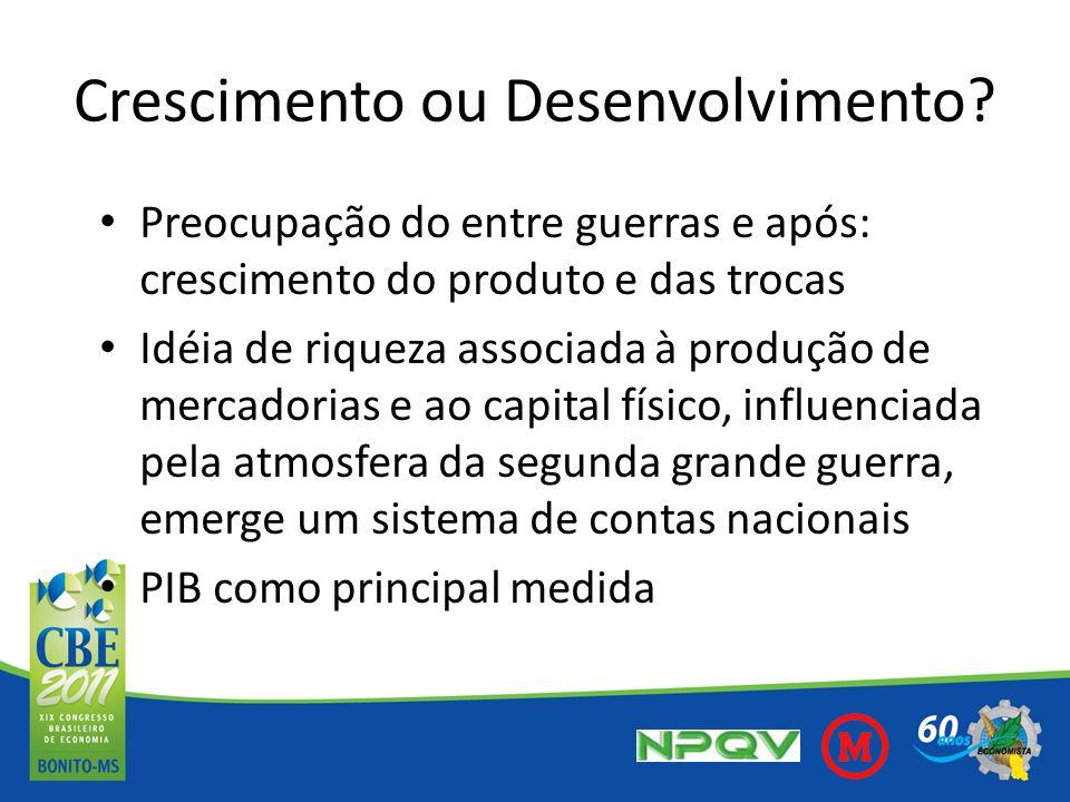 PIB uma adição de bens e serviços, vendidos e comprados, sem qualquer distinção entre os que são ou não são benéficos para a sociedade (Veiga, 2010, p.