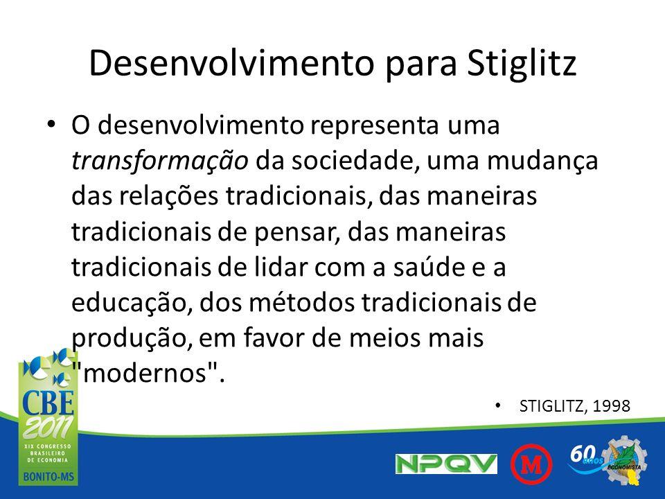 Desenvolvimento para Stiglitz (2) O maior PIB não é um fim em si mesmo, mas um meio para se atingir melhores padrões de vida e uma sociedade melhor, com menos pobreza, melhor saúde e educação mais avançada.