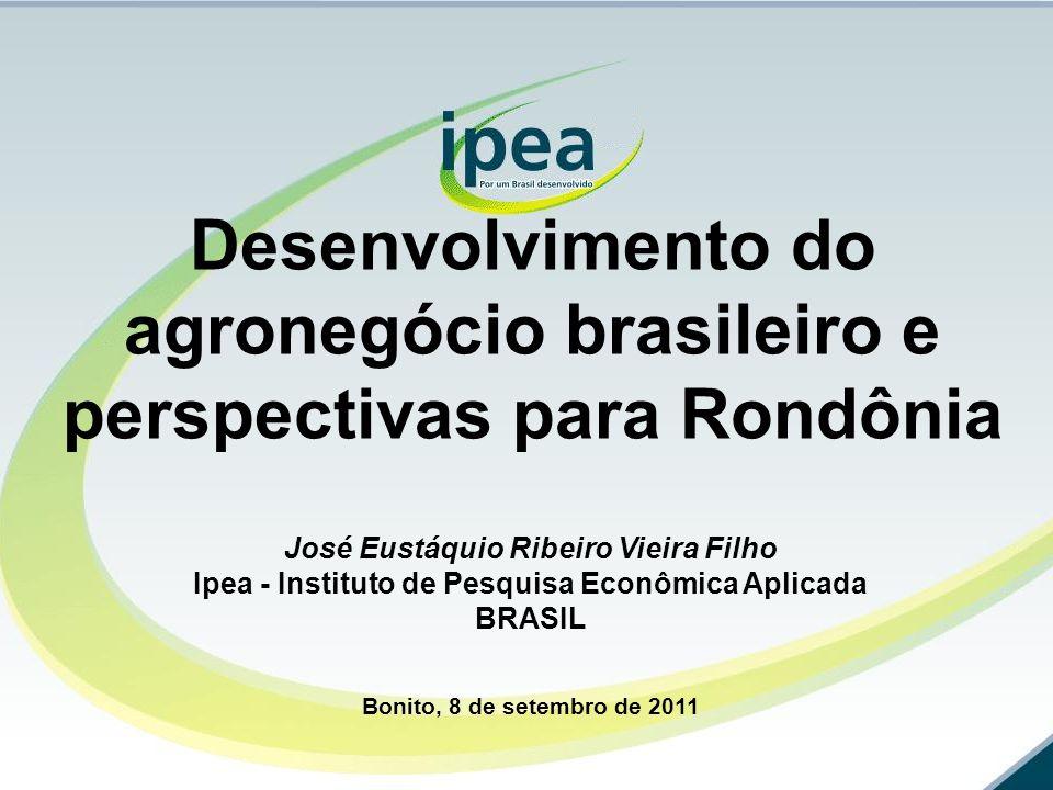 Desenvolvimento do agronegócio brasileiro e perspectivas para Rondônia José Eustáquio Ribeiro Vieira Filho Ipea - Instituto de Pesquisa Econômica Apli