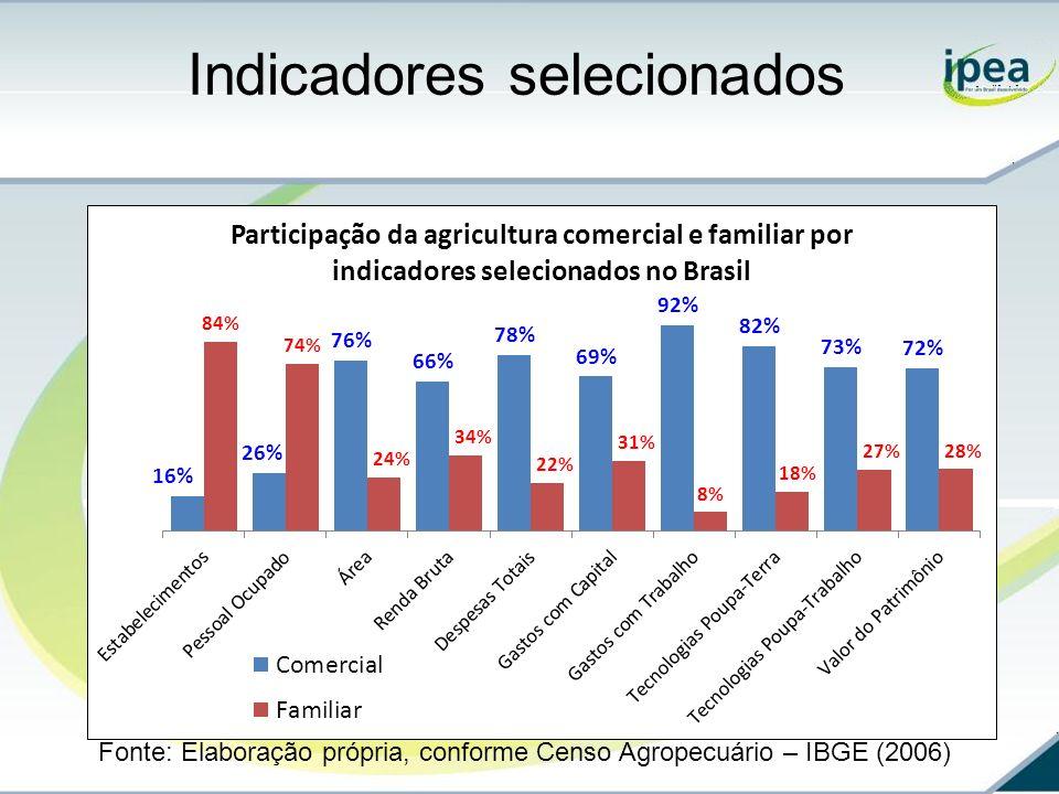 Indicadores selecionados Fonte: Elaboração própria, conforme Censo Agropecuário – IBGE (2006)
