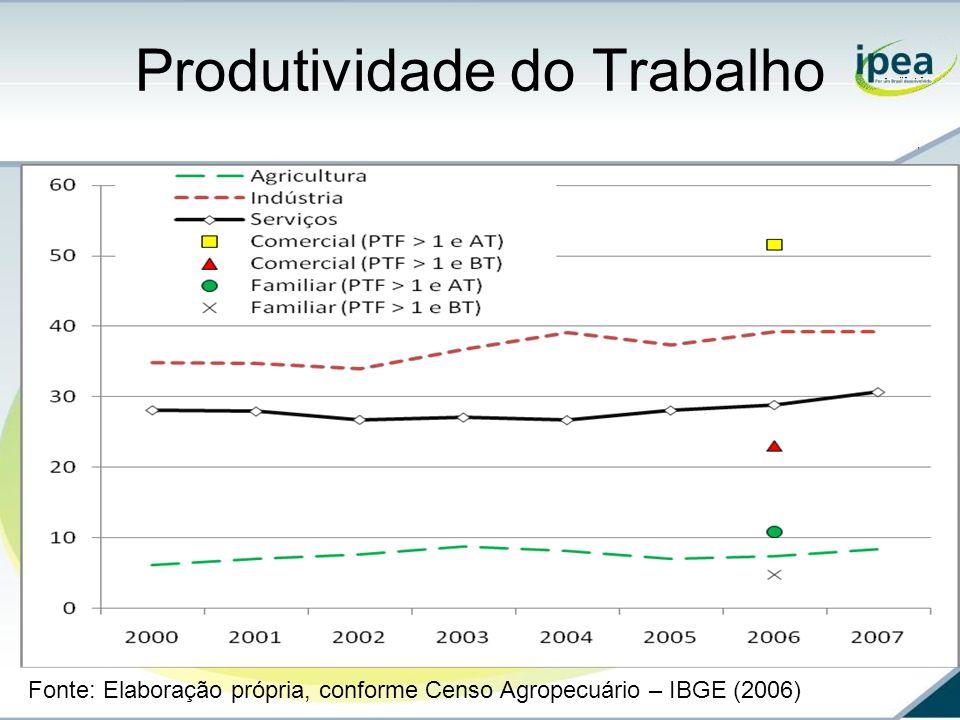Produtividade do Trabalho Fonte: Elaboração própria, conforme Censo Agropecuário – IBGE (2006)