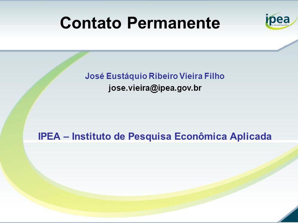 Contato Permanente José Eustáquio Ribeiro Vieira Filho jose.vieira@ipea.gov.br IPEA – Instituto de Pesquisa Econômica Aplicada