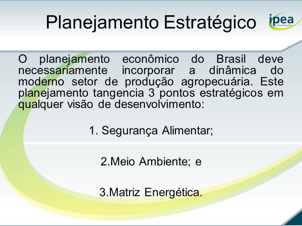 Planejamento Estratégico O planejamento econômico do Brasil deve necessariamente incorporar a dinâmica do moderno setor de produção agropecuária. Este