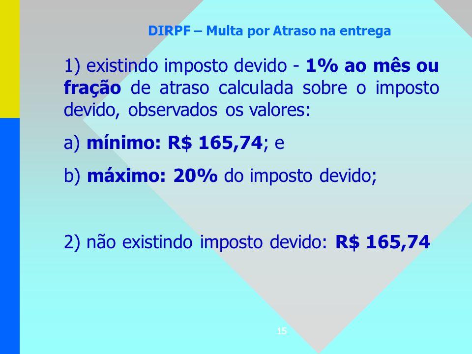 15 DIRPF – Multa por Atraso na entrega 1) existindo imposto devido - 1% ao mês ou fração de atraso calculada sobre o imposto devido, observados os val