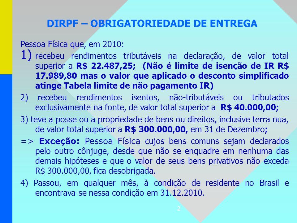 2 DIRPF – OBRIGATORIEDADE DE ENTREGA Pessoa Física que, em 2010: 1) recebeu rendimentos tributáveis na declaração, de valor total superior a R$ 22.487