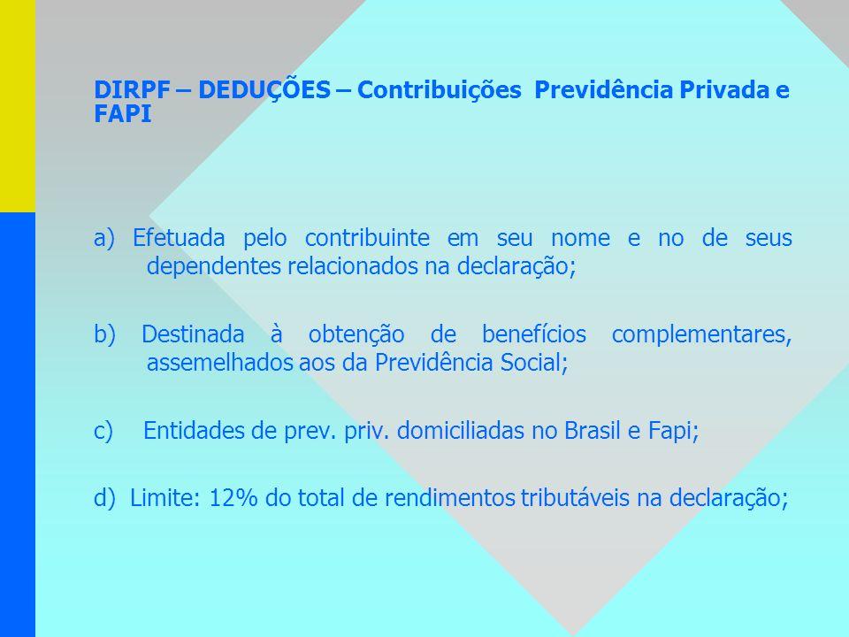DIRPF – DEDUÇÕES – Contribuições Previdência Privada e FAPI a) Efetuada pelo contribuinte em seu nome e no de seus dependentes relacionados na declara