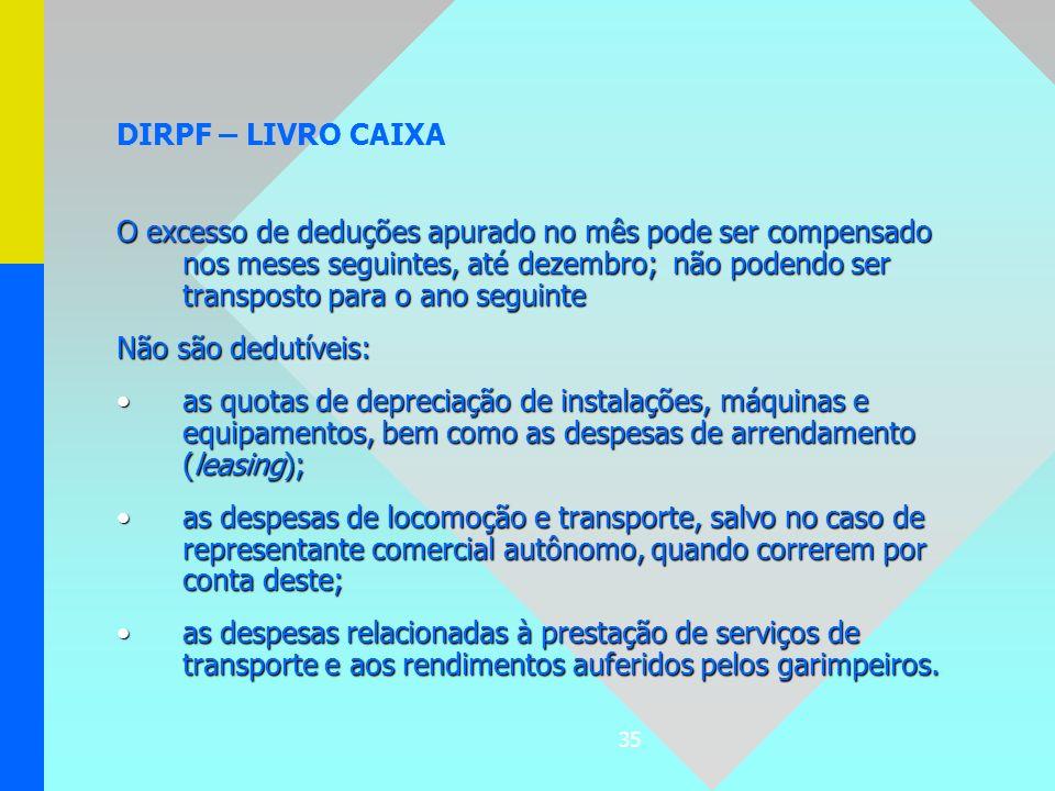 35 DIRPF – LIVRO CAIXA O excesso de deduções apurado no mês pode ser compensado nos meses seguintes, até dezembro; não podendo ser transposto para o a