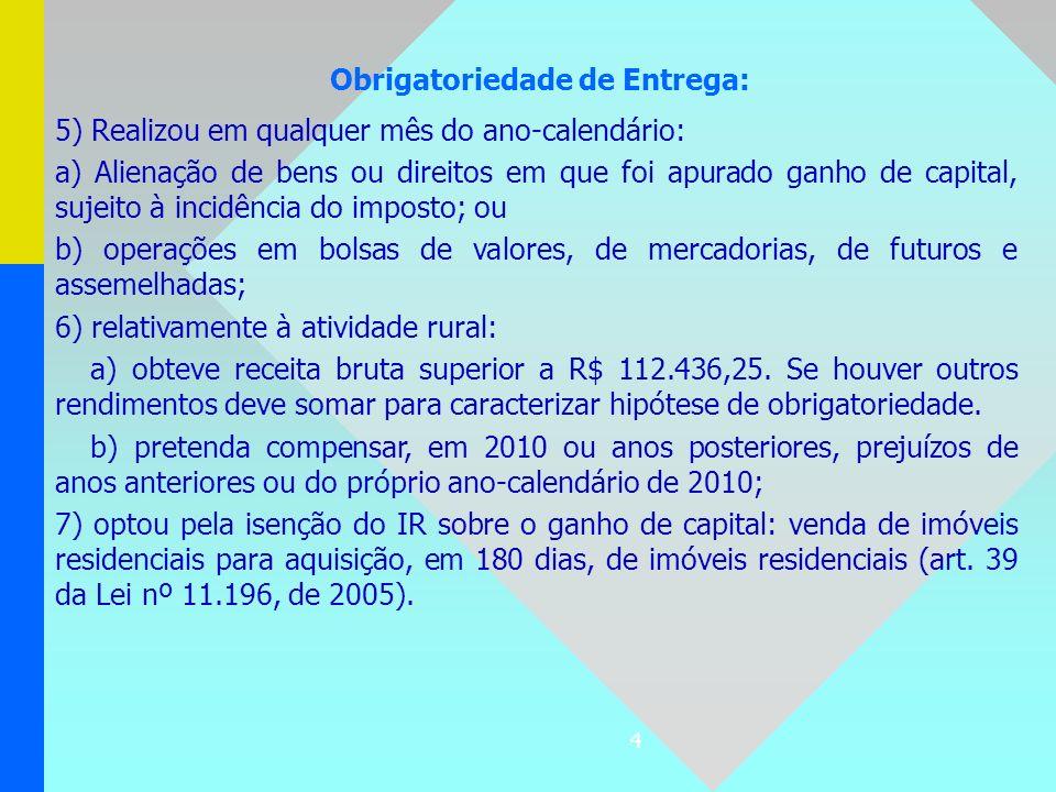 4 Obrigatoriedade de Entrega: 5) Realizou em qualquer mês do ano-calendário: a) Alienação de bens ou direitos em que foi apurado ganho de capital, suj