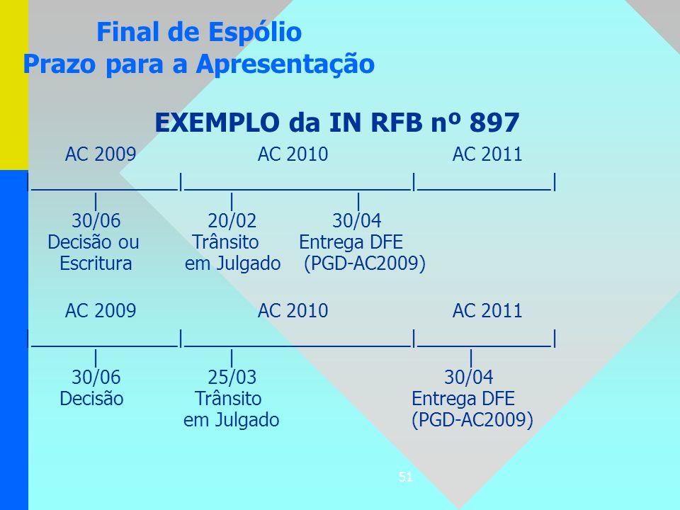 51 EXEMPLO da IN RFB nº 897 AC 2009 AC 2010 AC 2011  ______________ ______________________ _____________       30/06 20/02 30/04 Decisão ou Trânsito E