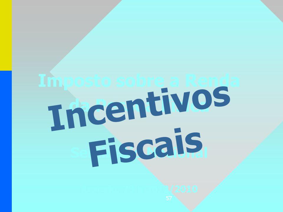 57 Imposto sobre a Renda da Pessoa Física Seminário Nacional Aracaju, 23 a 26/2/2010 Incentivos Fiscais